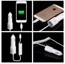 5V/2.1A Power USB Auto Car Charger with Coiled Spring USB Cable For iPhone 6 6s plus 5 5s 7