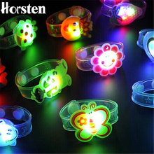 1pcs Cartoon LED Night Light Party Xmas Decoration Colorful LED Watch Toy Boys Girls Flash Wrist Band Glow Luminous Bracelets(China)