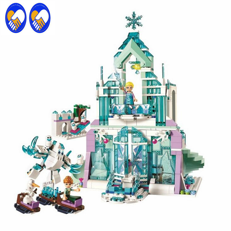 A Toy A Dream 10664 Friends Elsas Magical Ice Palace Castle Building Blocks Anna&amp;Olaf mini-doll Toy Compatible Lepin 25002<br>