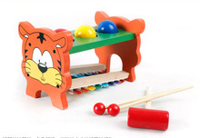 New Tiger Wooden hand knock serinette Piano early childhood educational toys baby music enlightenment toy knock piano with ball