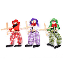 Vintage Colorful Funny Handcraft Toy Pull String Puppet Clown Wooden Marionette Toy Joint Activity Doll Kid Children Gift Craft
