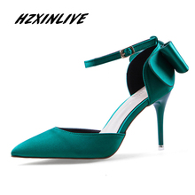 HZXINLIVE Brand 2018 High Heels Pumps Scarpin Valentine Green Heels Ladies Luxury Sandals Female Fashion Satin Buckle Bow Shoes(China)