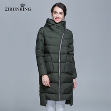 ZIRUNKING Women Warm Thick Down Coats White Duck Down Hooded Winter Outerwear Female Fashion Parkas ZD1604