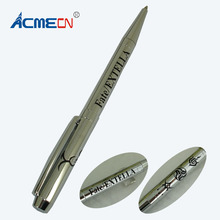ACMECN Hi-tech Debossing Ball Pen Unique ODM Design Office and School Stationery Ballpoint Pen Slim Twist Silver Pens Promotion