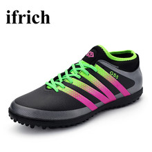 2017 Men Kids Soccer Shoes For Artificial Turf Cleats Blue/Black Sock Football Boots Original Football Trainers Kids Trainers