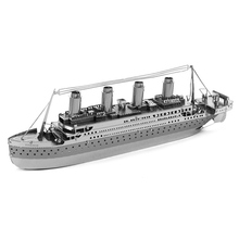 3D Metal Puzzles Model Toys DIY Jigsaws Silver Ship Nano Model Educational Building Toys for Children Famous Shipwreck Titanic(China)