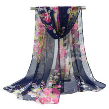 160*50CM 2017 fashionable design silk chiffon scarf women imported china floral print shawls summer clothing accessories Ladies