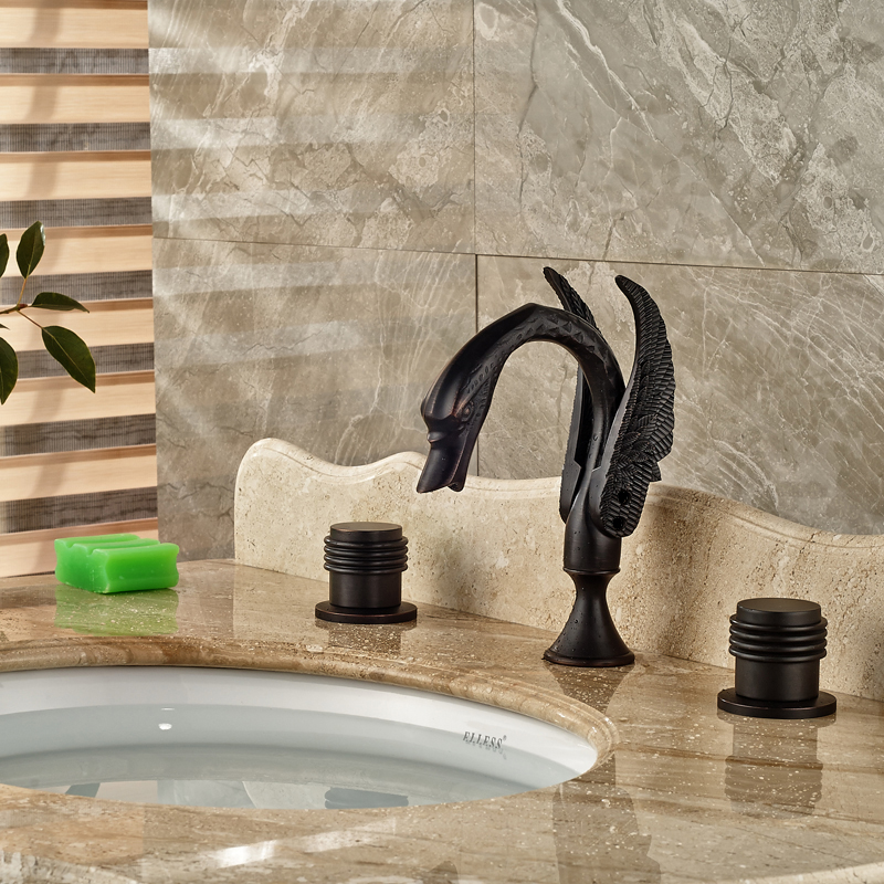 Creative Design Brass Hot and Cold Water Basin Faucet Deck Mount 3 Holes Bathroom Swan Mixer Taps<br><br>Aliexpress