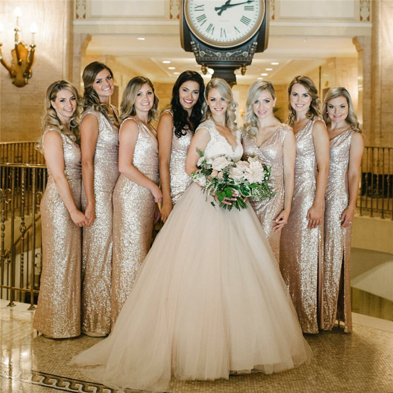Gold dresses for bridesmaids