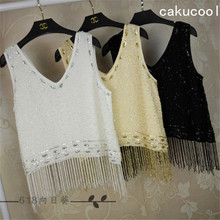 Cakucool New Women Sequined Tank Tops Sexy Club Beading Camisole Embellish Party Tassels Chiffon Tanks Camis Spaghetti Female(China)