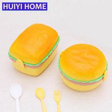 Huiyi Home Double Layer Lunch Box Children'S Hamburger Food Storage Box With Spoon And Fork EGL093(China)