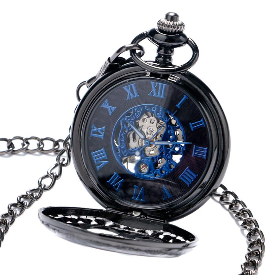 YISUYA Luxury Steampunk Hollow Skeleton Mechanical Pocket Watch Roman Numerals Dial Vintage Fob Chain Pendant Clock Men Women Gifts (2)