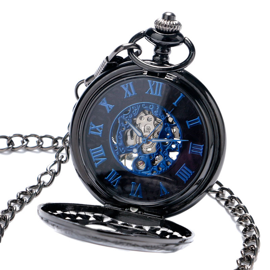 YISUYA Luxury Steampunk Hollow Skeleton Mechanical Pocket Watch Roman Numerals Dial Vintage Fob Chain Pendant Clock Men Women Gifts (2)