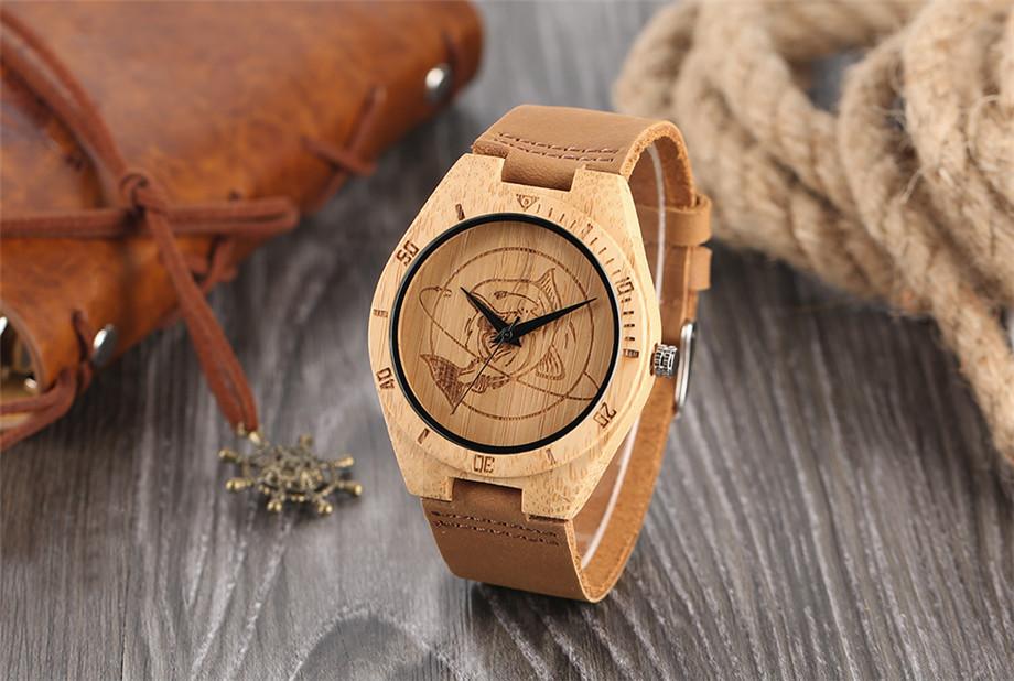 ทำมือไม้ไผ่นาฬิกาสำหรับผู้ชายผู้หญิงS CulptedออกแบบฉลามแบบDialหนังแท้สายคล้องสายนาฬิกาข้อมือ 1