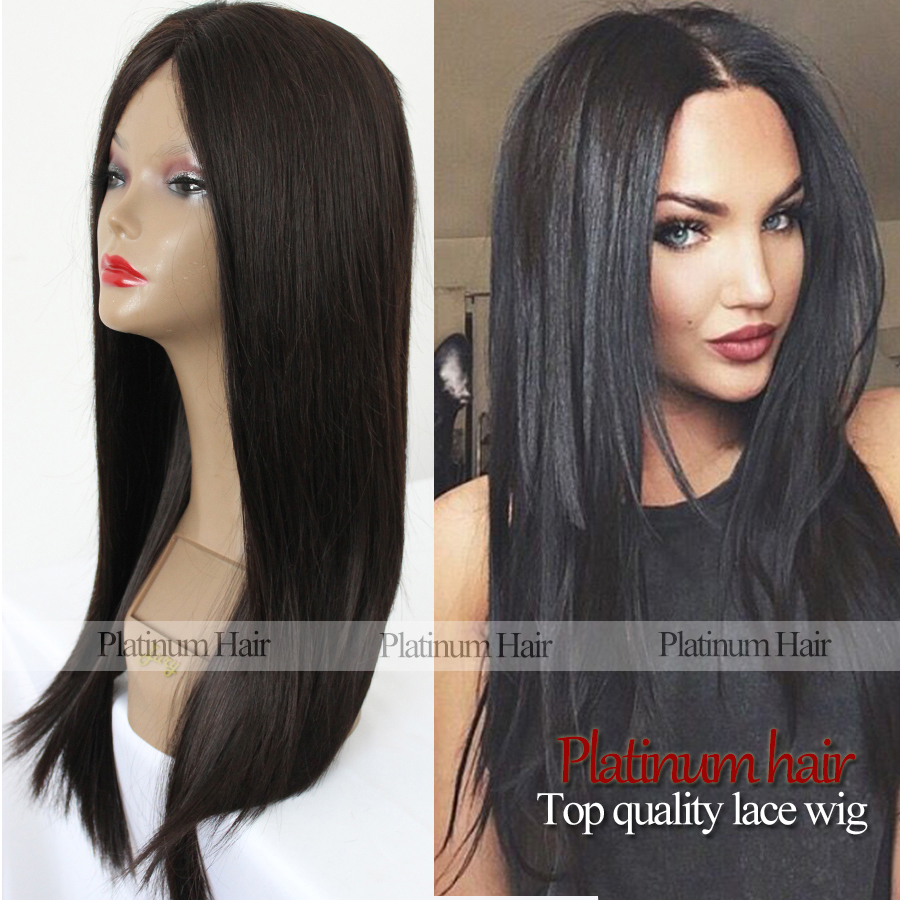 cheap synthetic natural straight long silk hair glueless plain black color synthetic lace front smooth straight wigs for women<br><br>Aliexpress
