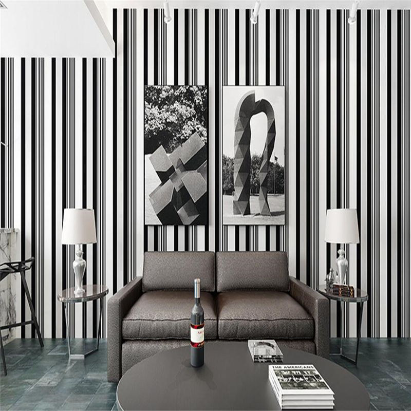 beibehang Simple modern non-woven wallpaper black and white pinstriped living room bedroom study tv backdrop wall wallpaper<br>