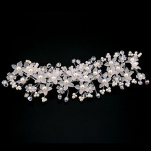Wedding Hair Accessories Crystal Pearl Flower Barrettes Bridal Tiara And Crown Hair Pin Handmade Hairpin Korea Hair Jewelry SL