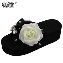 Special Design Hand Make Beautiful Looking Black Women Slippers Wedges Female Flip Flops Summer Time Casual Wear Female Shoes(China)