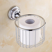 Antique Polished Ceramic Toilet Paper Holder Luxury Silver Paper Box Wall Mounted Bathroom Hardware sets Products