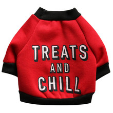 Funny Letter TREAT and CHILL Pet Dog Puppy Fleece Shirt Apparel Warm Sweater Clothes kitty small Jacket coat apparel 2017 sale