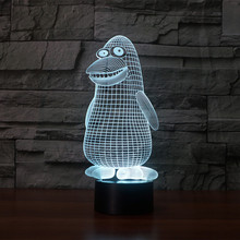 Creative 3D light penguin Night Light 7 Color Change Acrylic LED Table Lamp USB light Bedroom Gift for Decoration