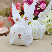Cute Bunny Cookies Bag Ear Plastic Candy Gift Bag Box 20pcs Holloween Wedding Decorate Christmas Party Supplies YL877246(China)