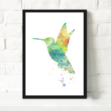 Original Watercolor Hummingbird Art Canvas Print Poster Wall Picture Canvas Painting Kids Room decoration best ornament for home