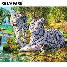 GLymg Diamond Embroidery Black White Striped Tiger Diamond Painting Cross Stitch Full Square Animal Series Home Decor Picture(China)