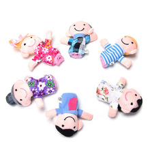 Cute Cartoon Kids Family Finger Puppets Cloth Doll Baby Educational Hand Toy Story 6pcs