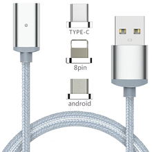 Braided 8pin type-c Micro USB magnetic power charger charging date transmit line wire cord cable rope for iPhone 5 6 7 Android
