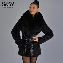 Winter Faux Fur Jacket Artificial Fur Coats for Women Plus Size Fake Mink Fur Coat Rabbit Fur Coat Fox Collar XXXL 4XL 6XL