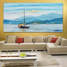 100% Hand painted Sailing Yacht Color Palette Oil Painting Blue Canvas Wall Art Picture for Office Home Decor