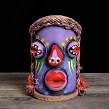 The regional characteristics of human facebook three-dimensional China color pen container creative folk style painted decor(China)
