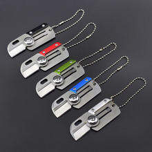 Mini Dog Tag Knifes Portable Fold Hunting Camping Survival Identification Folding Tactical Rescue Outdoor EDC Key chain Ring