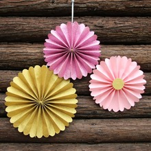 (6 pieces/lot)  Pink Gold Glitter Paper Fans Princess Birthday Backdrop Decor Paper Rosettes ,Pinwheel Backdrop