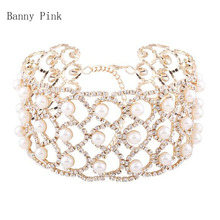 Elegant Imitation Pearl Rhinestone Chain Choker Women Necklace Cute Geo Statement Crystal Choker Collar Fashion Bridal Jewelry(China)