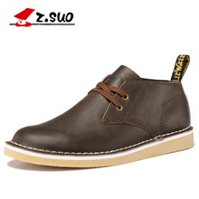 Z.SUO 060 New Autumn Crazy Horse Cow Leather Men's Desert Shoes British Fashion Daily Casual Leather Tooling Men Shoes(China)