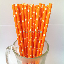 100pcs Mixed Colors White Star Printed Orange Paper Straws, Buy Cheap Cute Party Supplies Paper Drinking Straws in Bulk(China)