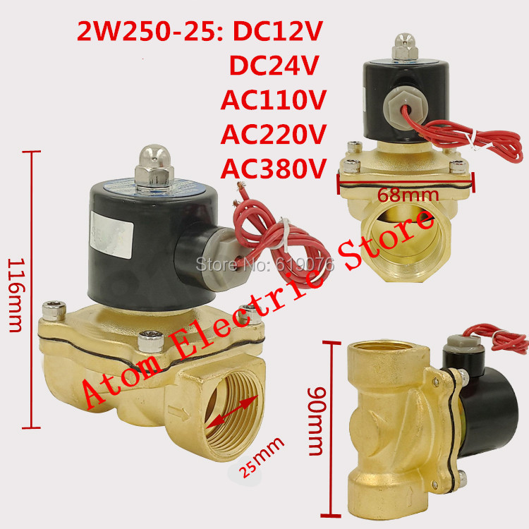2W250-25 N/C 2 Way 1 Gas Water Pneumatic Electric Solenoid Valve Water Air DC12V, DC24V AC110V, AC220V,AC380V Free Shipping   <br>