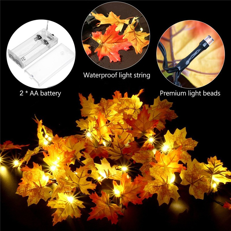165 CM Fall Leaves 10 LED String Light Christmas Battery Powered LED Fairy Light Autumn Leaf Hallowmas Party Decor Lamp DC3V(China)