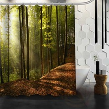 Best Nice Custom Forests Road Landscape Nature Shower Curtain Bath Curtain Waterproof Fabric For Bathroom MORE SIZE WJY#25(China)