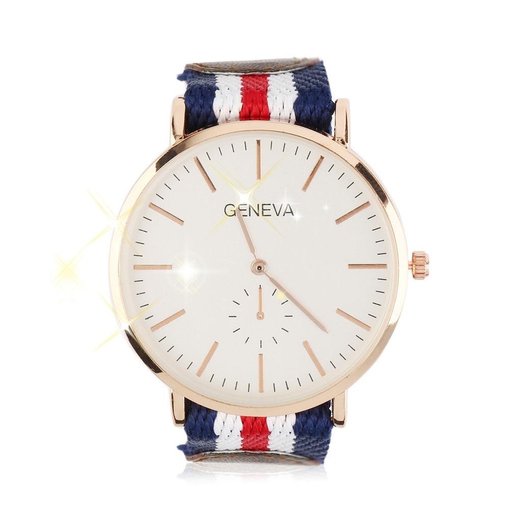 Fashion Unisex Round Quartz Wrist Watch Colored Stripe Watchband Leather and Nylon stitching Strap No Numbers Relogio Masculino<br><br>Aliexpress