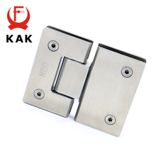 2PCS KAK-4904 180 Degree Open 304 Stainless Steel Wall Mount Glass Shower Door Hinge For Home Bathroom Furniture Hardware(China)