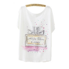 summer print perfume bottle sexy womens t shirts casual short sleeve tops cotton loose tshirt cotton women high quality