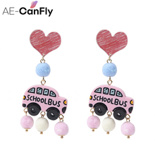 AE-CANFLY Newest Korean Cute Bus Shape Boucle D'oreille Earrings With Fur Ball Pendientes Mujer Moda Lover Ear Jewelry 1B3003(China)
