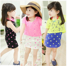 New Style Summer Clothing Korea Bow Stars Dresses +Lace Smock For 3-8 Year Children Baby Kids Girls Size100-140