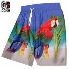OGKB Calças Novas da Chegada do Verão Homens mulheres Engraçado Impressão  Papagaio Tropical 3D Praia Board Shorts Man Casual Na . b3ee6c91e931b