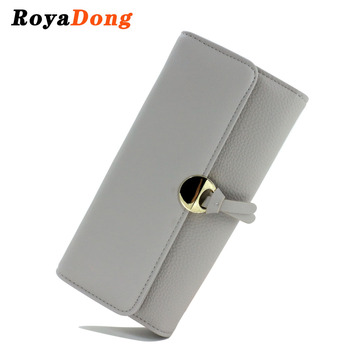 RoyaDong 2017 Spring Women Wallets Artificial Leather Lichee Pattern Long Wallet Clutches Bags With Sequined