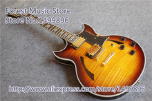 China Sunburst Vintage Finish Johnny A ES Jazz Guitar Hollow Maple Body For Sale