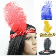 10 Colors Women Head Band Beaded Sequin Flapper Feather Headband Headpiece Party Costume Headband Hair Accessories(China)